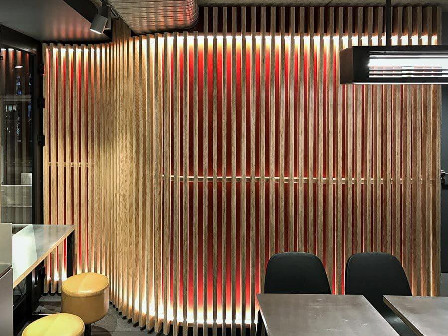 Custom made backlit batten wall